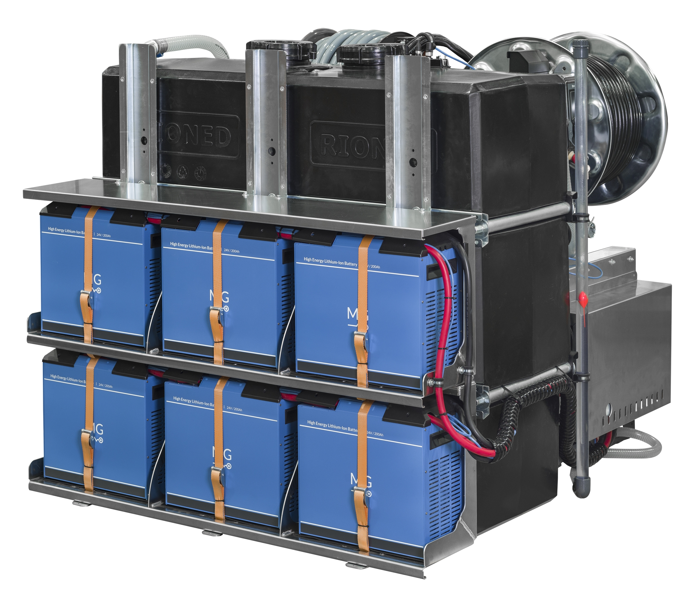 Powered by an array of six high-density li-ion batteries mounted on a rack-system.